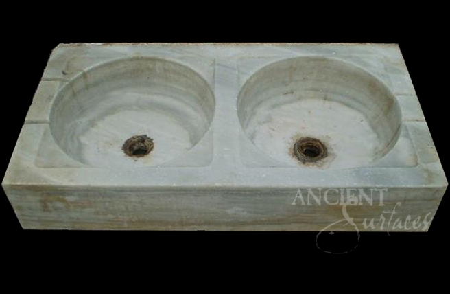Antique Double Limestone Sinks by Ancient Surfaces