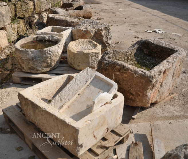 Antique Salvaged Limestone Troughs by Ancient Surfaces