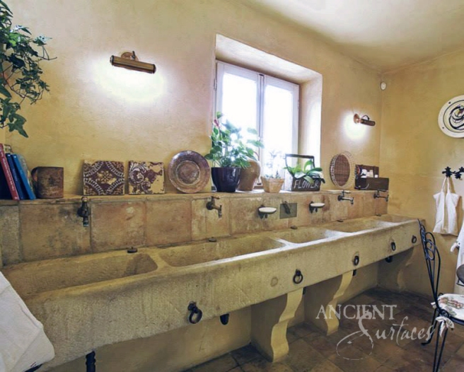 Limestone Trough Sink in an Italian Farmhouse remodel