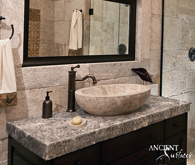 stone bowl sinks bathroom trough sinks by ancient surfaces 20687